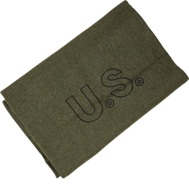 US(米軍放出品)ウールブランケット OD USロゴ入り