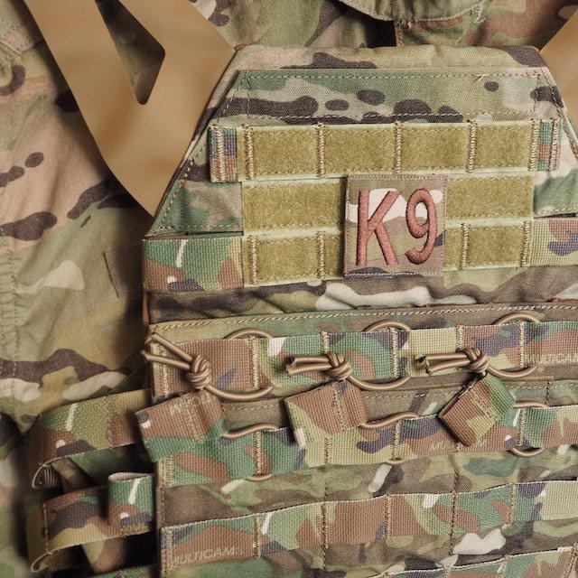 【ミリタリーパッチ】USAF K-9 スクエアパッチ 四角形 スパイスブラウン OCP [フック付き]