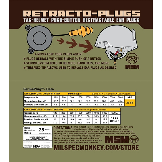 MSM(ミルスペックモンキー)Retracto-Plugs [巻き取り式イヤープラグ(耳栓)][耳栓カラーBLACK]