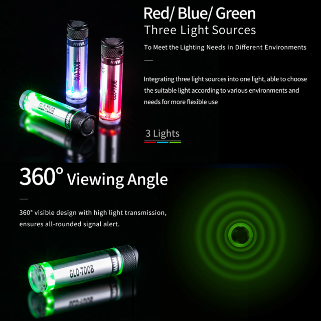 NEXTORCH(ネクストーチ)GLO-TOOB GT-AAA Aurora Red/Green/Blue マルチライト シグナルライト 防水マーカーライト 単4電池1本使用 [7モード]