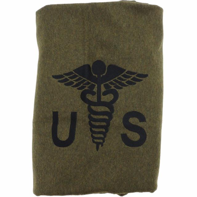US(米軍放出品)メディカルマーク付きウールブランケット