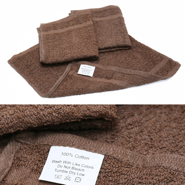 US(米軍放出品)テリー織り ハンドタオル 3枚入 Brown【中田商店】
