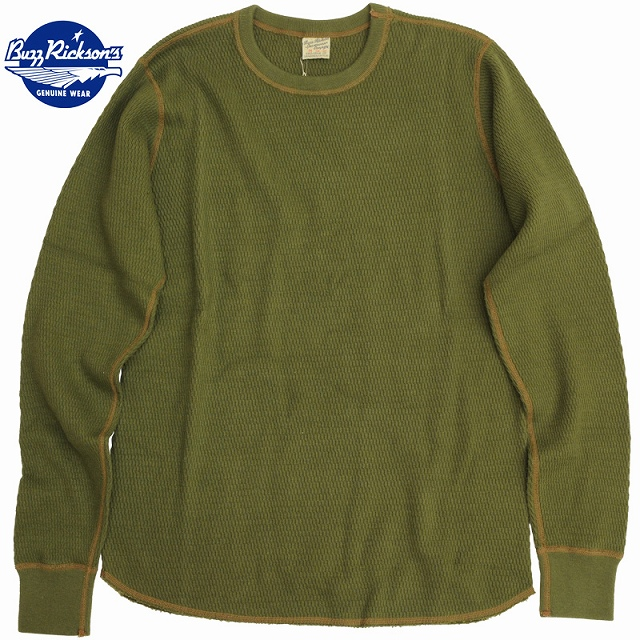 BUZZ RICKSON'S (バズリクソン)Thermal Shirt Long Sleeve Olive サーマル ロングスリーブ シャツ オリーブ