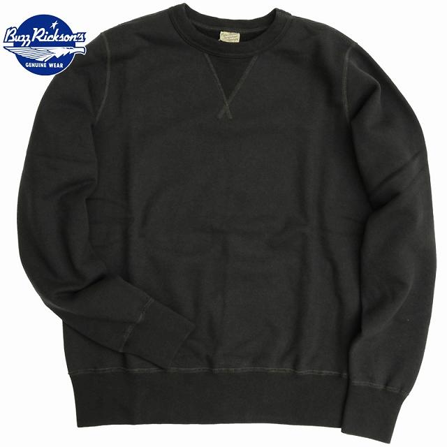 BUZZ RICKSON'S(バズリクソン)セットイン スリーブ スウェット シャツ ブラック Set-In Sleeve Sweat Shirts Black[BR65622]