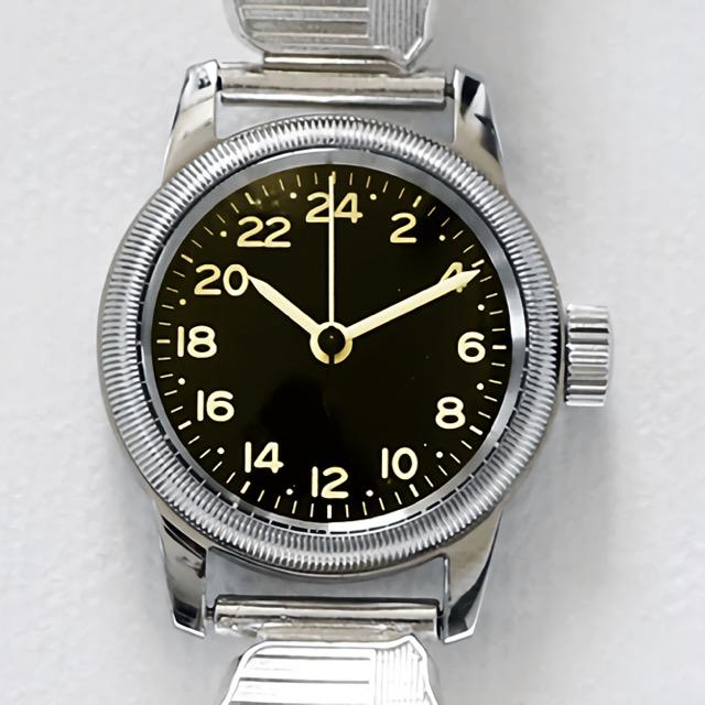 M.R.C. WATCH CO.(モントルロロイ)TYPE A-11 24H PILOT WING [黒文字盤]]パイロットウィングブレスウオッチ 24時間表示 [クォーツ][WW2 REPLICA]【中田商店】