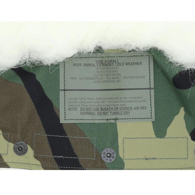 US(米軍放出品) ECWCS ゴアテックスパーカ用 白ボア フード [WOOD]