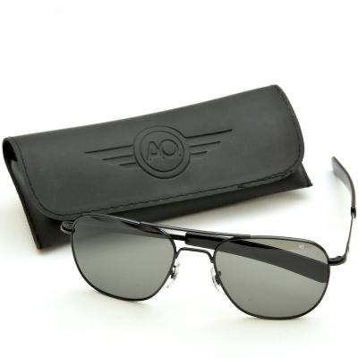 AO(アメリカン オプティカル)パイロット サングラス 57mm Black [ラージ サイズ レンズ][ミリタリー仕様][ストレート テンプル]【送料無料】