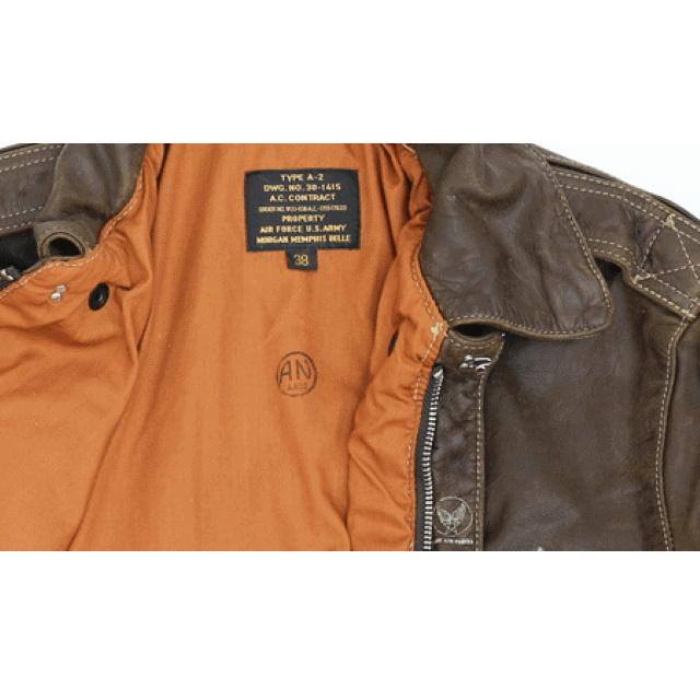 MORGAN MEMPHIS BELLE(モーガン メンフィスベル)Type A-2 Classic クラシック フライトジャケット [ANTIQUE BROWN][GOAT SKIN/山羊(ヤギ)皮革] AFマーク付 WW2 仕様