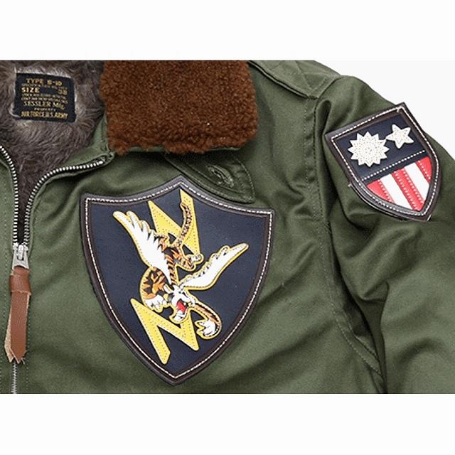 SESSLER(セスラー)TYPE B-10 フライト ジャケット Flying Tigers フライングタイガース パッチ付 OD [ビンテージ 復刻]【中田商店】