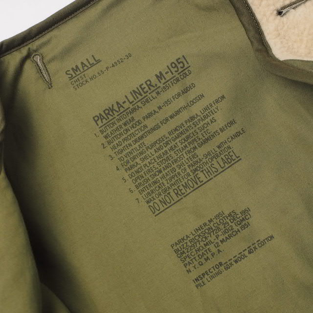 BUZZ RICKSON'S(バズリクソン)PARKA LINER Type M-51 パーカーライナー [BR14681]