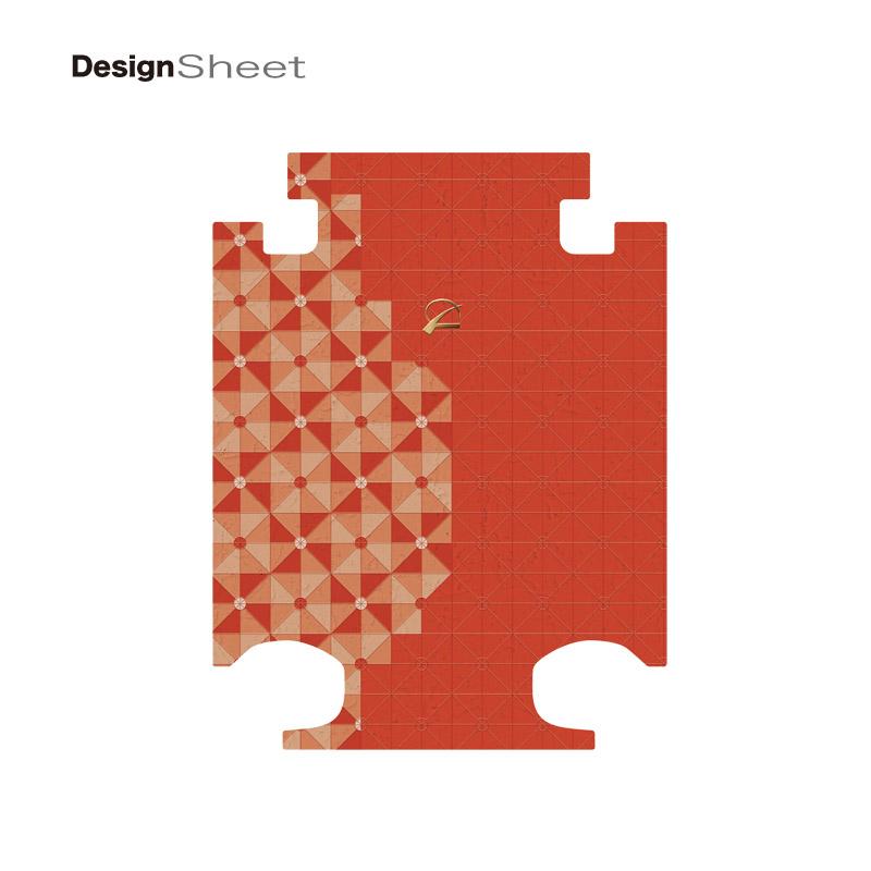 キャラート|着せ替えデザインシート|ベーシック ジオメタリック|パッションレッド|アートスーツケースCR-A01H用