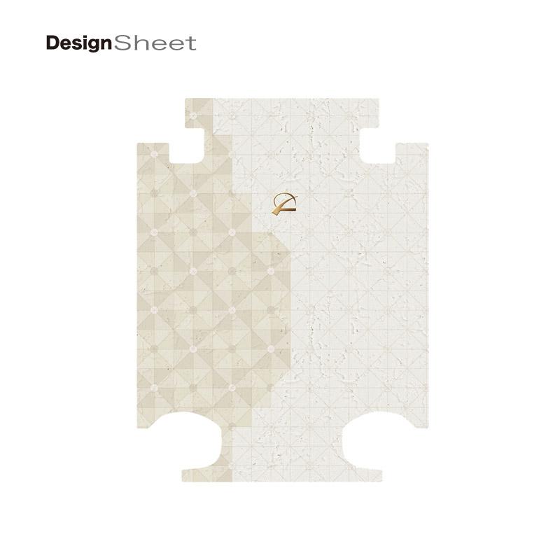 キャラート|着せ替えデザインシート|ベーシック ジオメタリック|オフホワイトベージュ|ホワイト|アートスーツケースCR-A01H用