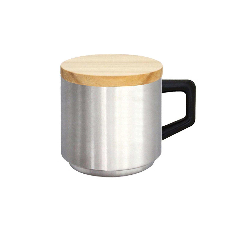 真空ステンレスマグカップ(木蓋付)|410ml ステンレス色|ALEXYANG