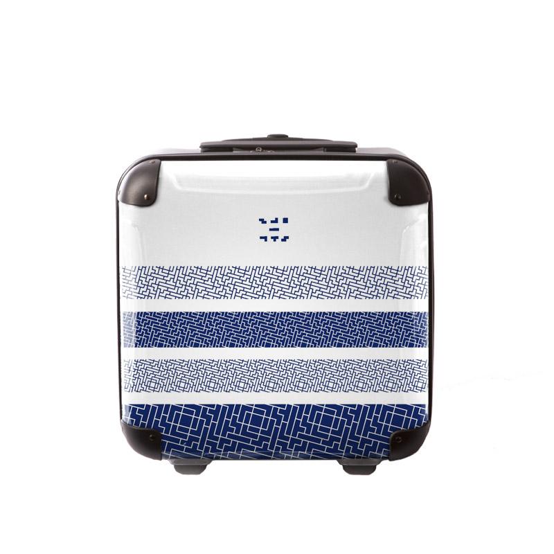 キャラート|アートスーツケース|TETRIS™|テトリス モダン和柄 2 (ネイビー×ホワイト)|ジッパー2輪|機内持込