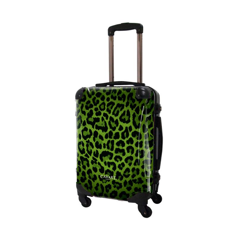 アートスーツケース|ベージック 豹(グリーン)|フレーム4輪|機内持込|キャラート