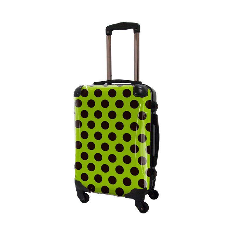 アートスーツケース|ベーシック  コミカルドット(ライトグリーン×ブラック)|フレーム4輪|機内持込|キャラート