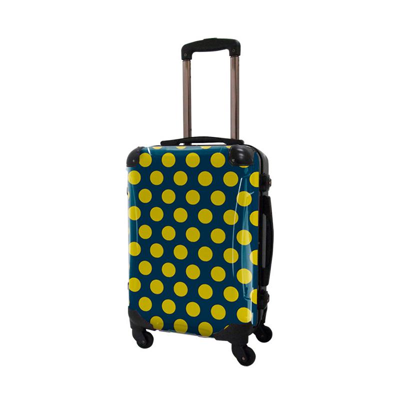 アートスーツケース ベーシック  コミカルドット(ネイビー×ネーブルスイエロー) フレーム4輪 機内持込 キャラート