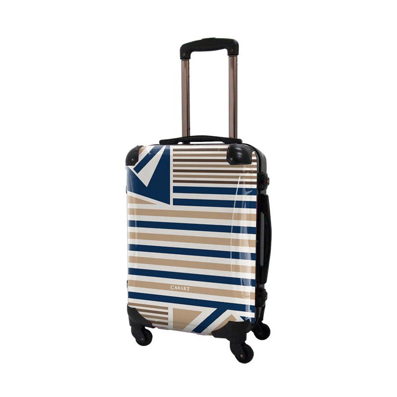 アートスーツケース|ベーシック  カジュアルボーダー(ネイビー×ライトブラウン)|フレーム4輪|機内持込|キャラート