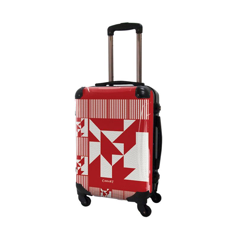アートスーツケース|ポップニズム ノベル(ダークレッド×ホワイト)|フレーム4輪|機内持込|キャラート