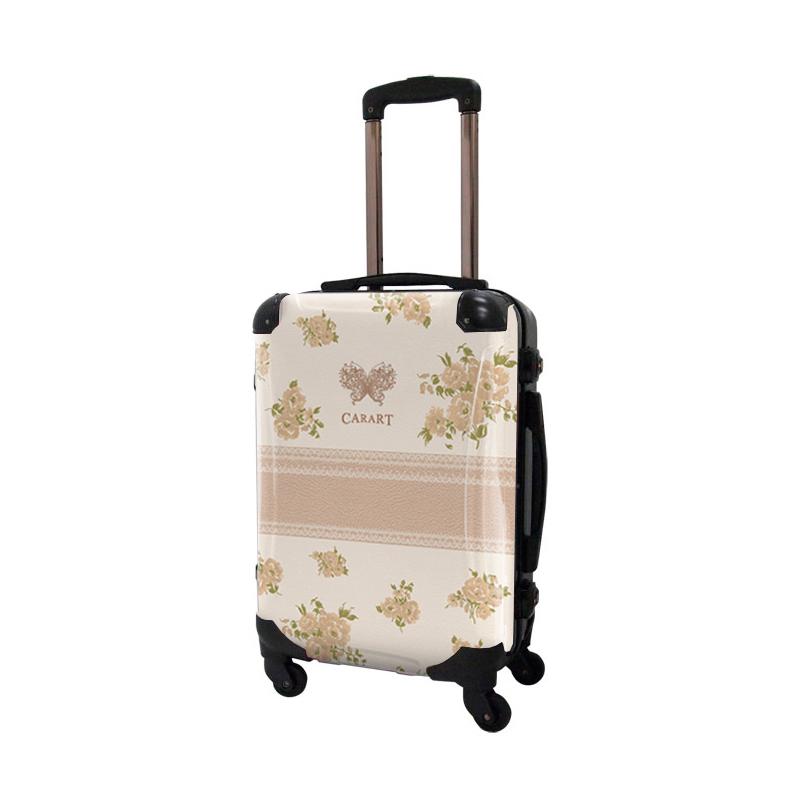 アートスーツケース|プロフィトロール フラワースプレー(ナチュラルベージュ)|フレーム4輪|機内持込|キャラート