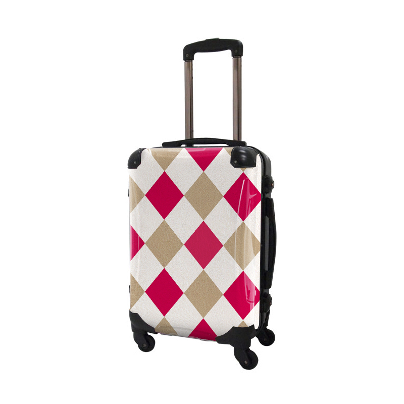 キャラート|アートスーツケース|ダイヤモンドチェック(ピンク×ベージュ×オフホワイト)|フレーム4輪|機内持込