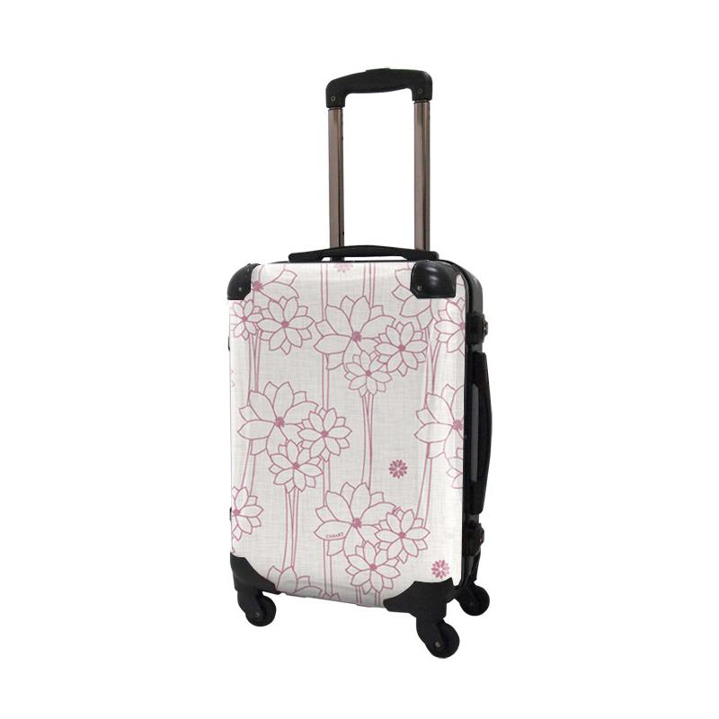 アートスーツケース|ジャパニーズ旅趣 |水仙華 ホワイトピンク|フレーム4輪|機内持込|キャラート