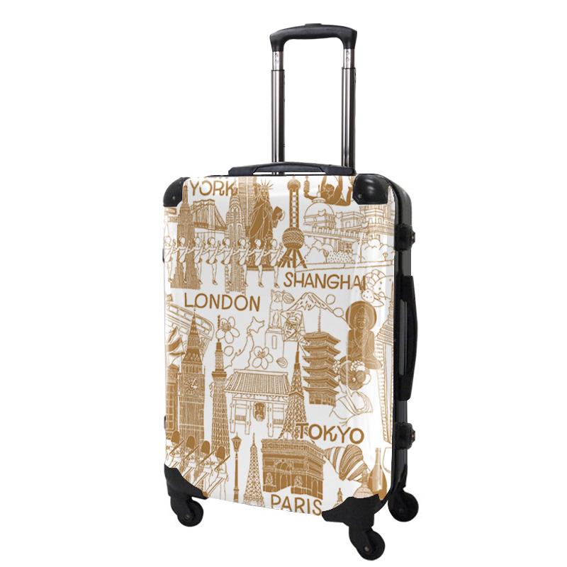 アートスーツケース|ポップニズム  シティ(ホワイト×ソフトキャメル)|フレーム4輪|63L|キャラート