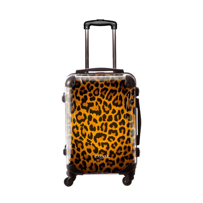 アートスーツケース|ベージック 豹(ゴールド)|フレーム4輪|機内持込|キャラート
