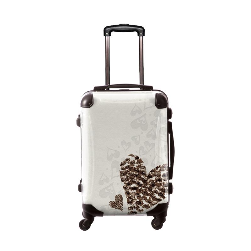 アートスーツケース|ココアチョ ハートホワイト|フレーム4輪|機内持込|キャラート