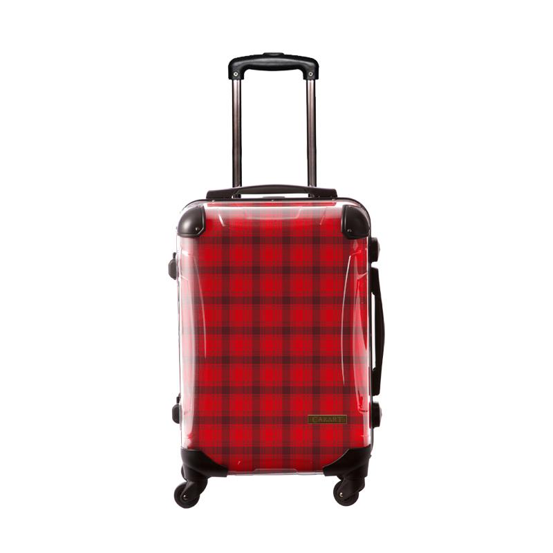 アートスーツケース|ベーシック  カラーチェックモダン(レッド2)|フレーム4輪|機内持込|キャラート
