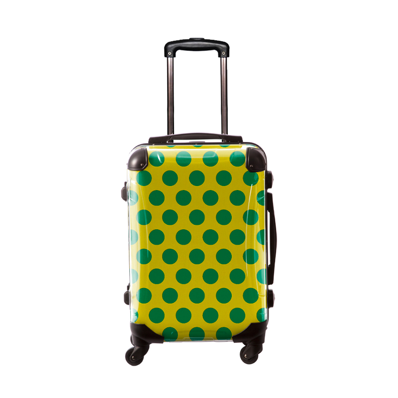 アートスーツケース ベーシック  コミカルドット(ネーブルスイエロー×グリーン) フレーム4輪 機内持込 キャラート
