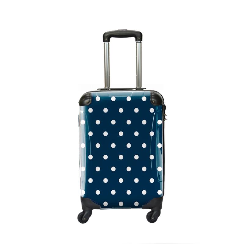 キャラート|アートスーツケース|ベーシック  カラードット(ネイビー)|ジッパー4輪|機内持込