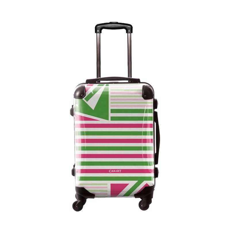 アートスーツケース ベーシック  カジュアルボーダー(グリーン×ピンク) フレーム4輪 機内持込 キャラート