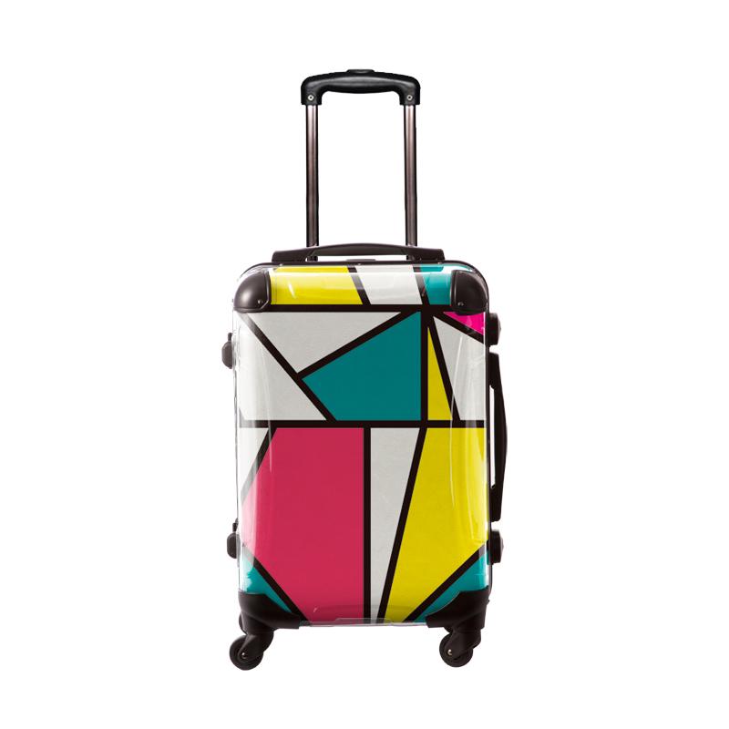 アートスーツケース|ポップニズム メトリ(エメラルド×ピンク×イエロー)|フレーム4輪|機内持込|キャラート