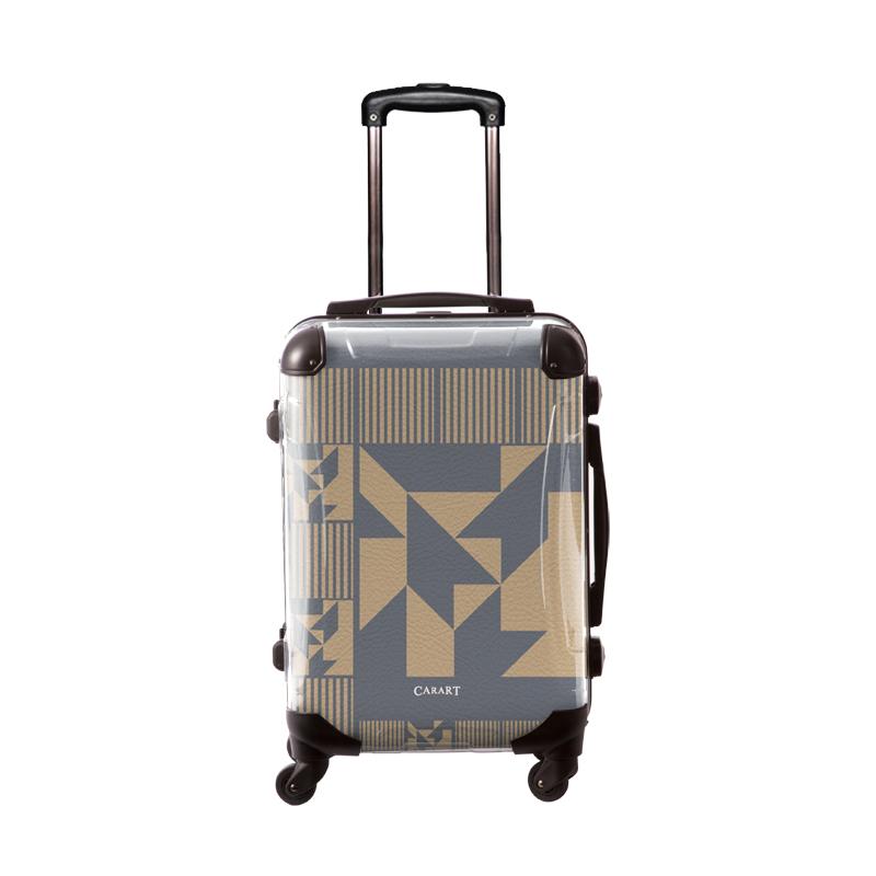 アートスーツケース|ポップニズム ノベル(グレー×ベージュ)|フレーム4輪|機内持込|キャラート