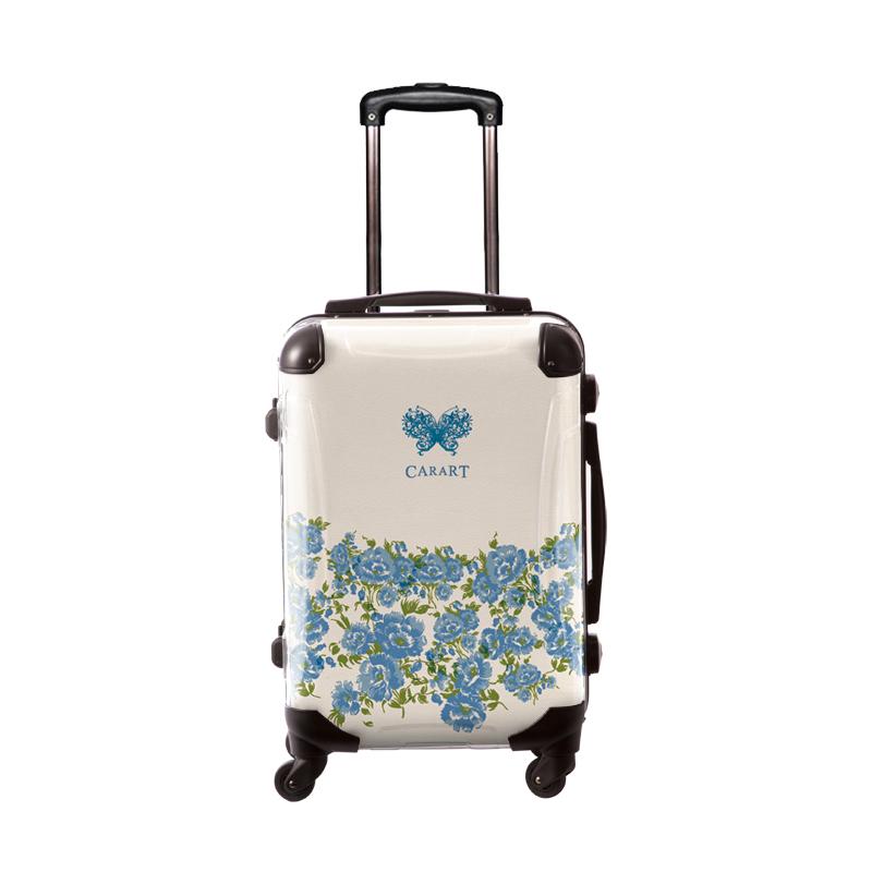 アートスーツケース|プロフィトロール フラワー(サックスブルー)|フレーム4輪|機内持込|キャラート