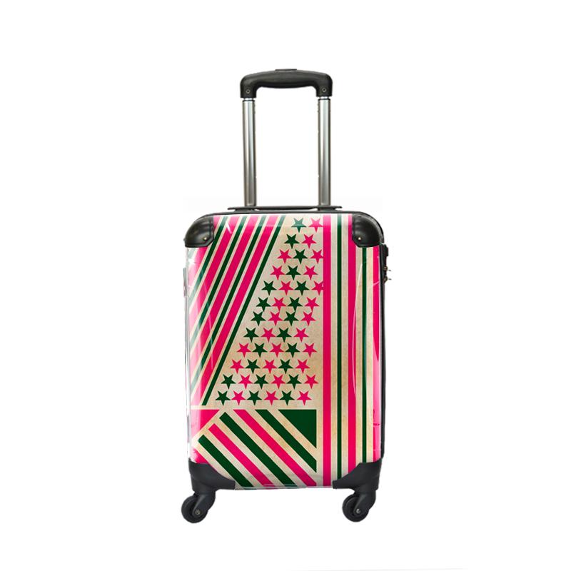 アートスーツケース ポップニズム アメリカン(グリーン×ピンク) ジッパー4輪 機内持込 キャラート