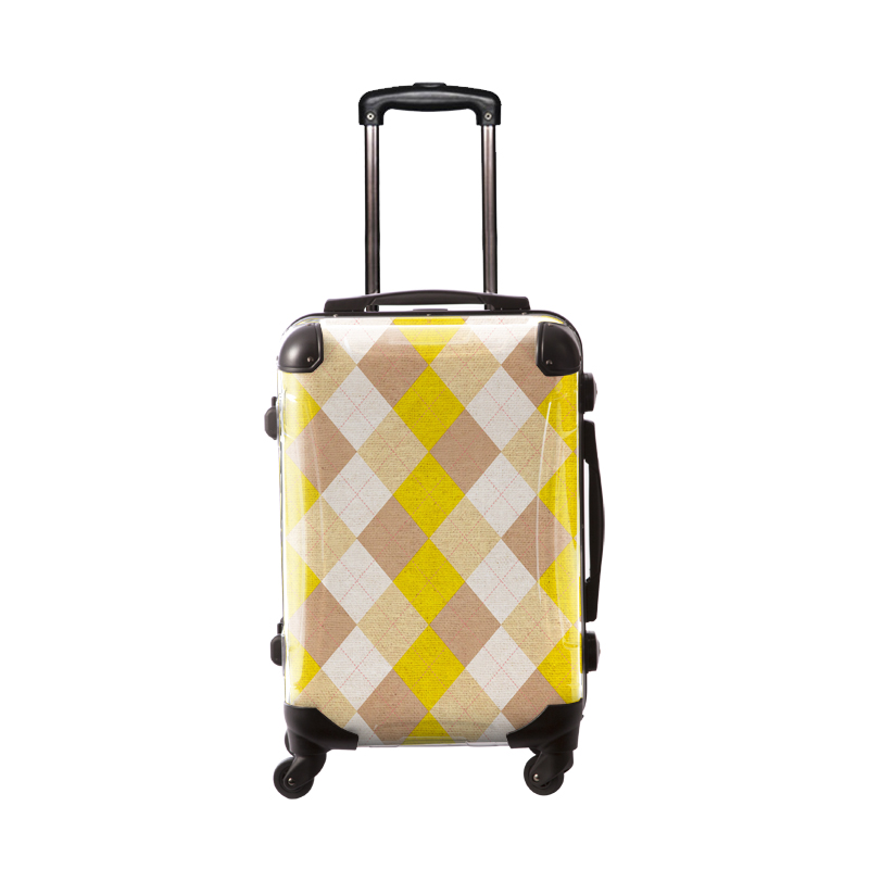 アートスーツケース アーガイルツイスト(イエロー×ベージュミックス) フレーム4輪 機内持込 キャラート