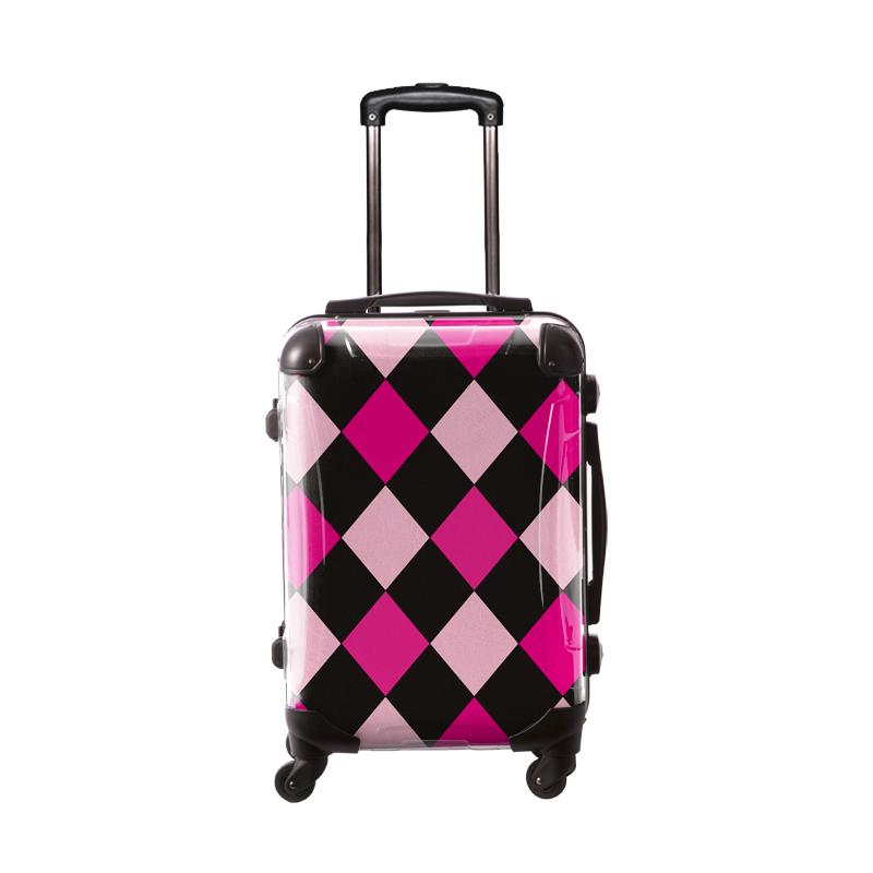 キャラート|アートスーツケース|ダイヤモンドチェック(ブラック×ピンクミックス)|フレーム4輪|機内持込