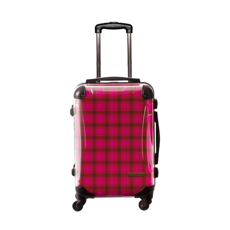 【アウトレット50%OFF】アートスーツケース|ベーシック  カラーチェックモダン(ピンク2)|フレーム4輪|機内持込|キャラート
