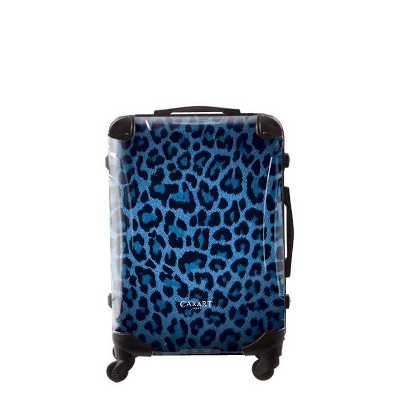 キャラート アートスーツケース ベーシック 豹(ブルー) フレーム4輪 63L