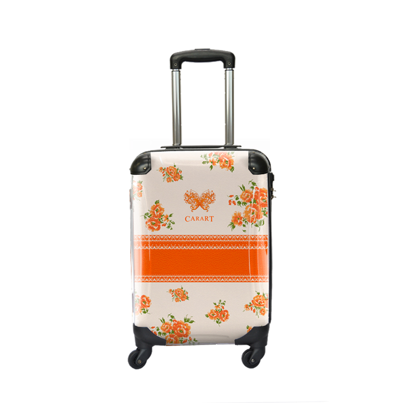 キャラート アートスーツケース プロフィトロール フラワースプレー(オレンジ) ジッパー4輪 機内持込