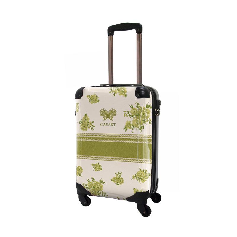 キャラート アートスーツケース プロフィトロール フラワースプレー(シャトルーズグリーン) ジッパー4輪 機内持込