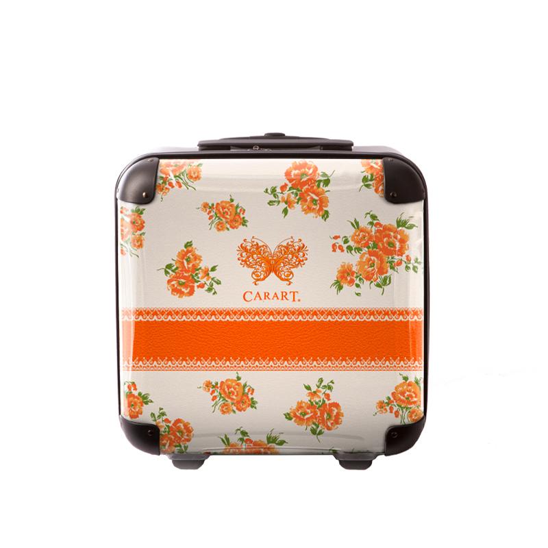 アートスーツケース|ベーシック クイーン  オレンジフラワー|ジッパー2輪|機内持込|キャラート