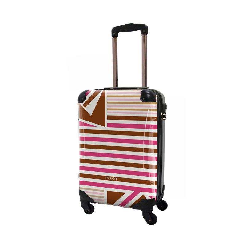 キャラート 着替えデザインシート ベーシック  カジュアルボーダー(ブラウン×ピンク) アートスーツケース CR-A02用