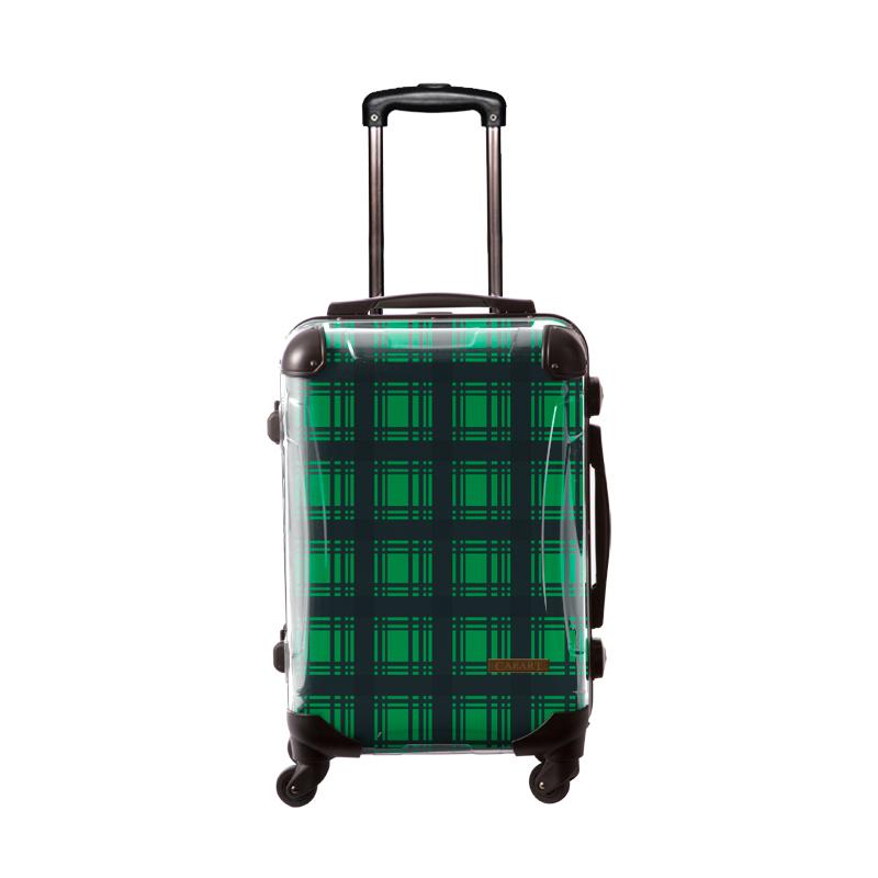 キャラート|アートスーツケース|ベーシック  カラーチェックモダン(グリーン3)|フレーム4輪|機内持込