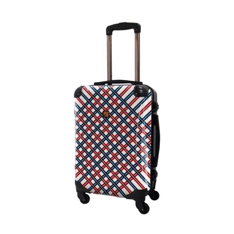 キャラート|アートスーツケース|ベーシック  スペースチェック(レッド×ネイビー)|フレーム4輪|機内持込