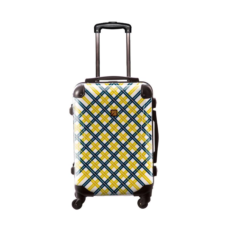 キャラート|アートスーツケース|ベーシック  スペースチェック(ネイビー×イエロー)|フレーム4輪|機内持込