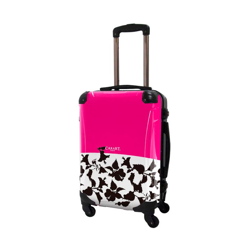 キャラート|アートスーツケース|ベーシック ピポパ(ピーチ×ブラック)|フレーム4輪|機内持込