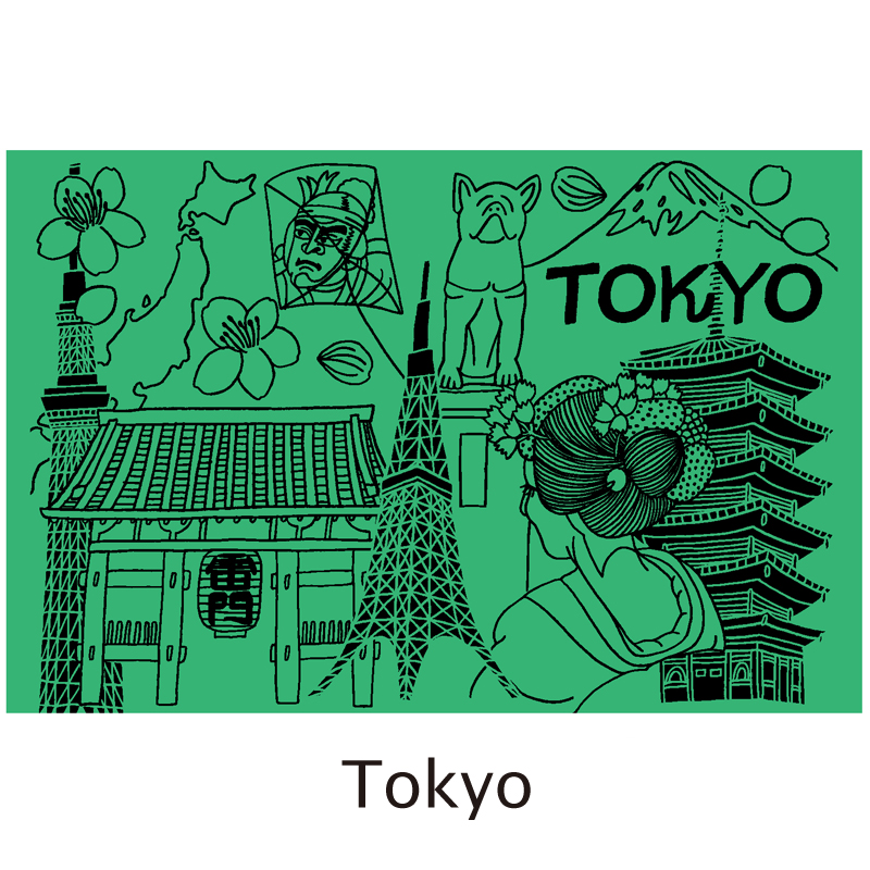 真空シティボトル|TOKYO|グリーン×オレンジ|ALEXYANG
